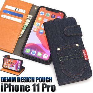 Smartphone Case iPhone Pocket Denim Design Notebook Type Case
