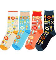 KOTORITACHI Socks Flower Pattern 4 Colors