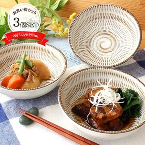 3 Pcs Ceramic Mino Ware Bowl Bowl