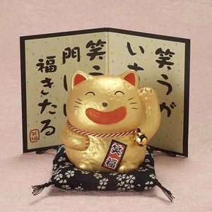 Smile Cat Ceramic Ornament Doll Beckoning cat Cat Fortune Gold Good Luck