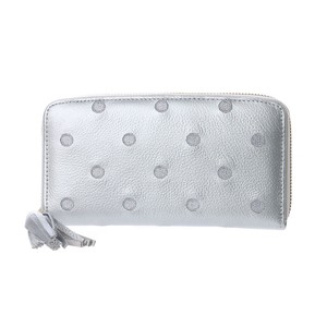 Cow Leather Dot Embroidery Round Long Wallet