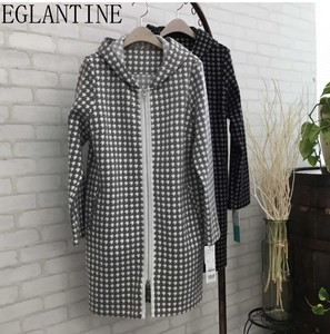 Houndstooth Pattern Double Line Coat