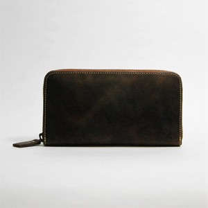 Genuine Leather Type Card Pocket Long Wallet