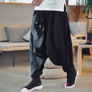 Men's wide pants Linen Pants Floral Pattern Leisurely Chino Pants Long Pants S/S Black