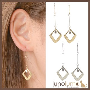 Pierced Earring Ladies Gold Silver Metal Rhinestone Rhombus Surface Processing