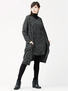 Jacquard Knitted Jersey Ensemble Long Cardigan Bijou Attached Tunic
