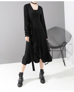 Casual Leisurely Long Sleeve Flare Frill Long One-piece Dress Clothing