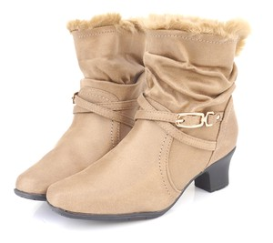 Boots Bootie Fluffy Fur Middle Heel Short Boots