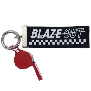 Whistle Attached Tape Key Ring Black