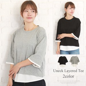U-neck Layering T-shirt Leisurely Layering Body Type Cover Three-Quarter Length Crew Neck