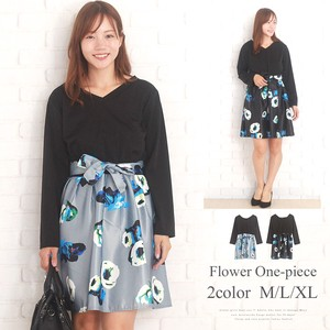 Floral Pattern Flare Skirt Korea Fashion Ladies Exotic Elegance Sexy Leisurely