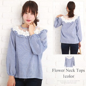 Floral Pattern Neck Top Fashion Ladies Lace Cut And Sewn