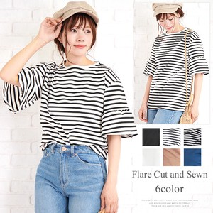 Flare Cut And Sewn Fashion Ladies Flare Border Plain Short Sleeve