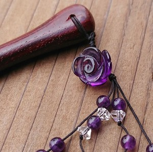 Kanzashi Rose Wood Natural stone Amethyst