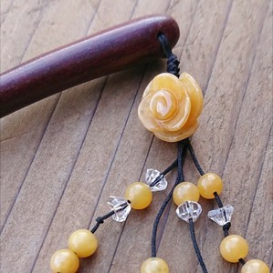 Kanzashi Rose Wood Natural stone Yellow Jade
