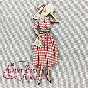 France Wooden Button Atelier Gingham Check Ladies