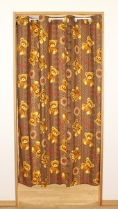 [ 2020NewItem ] Eyelet Partition Japanese Noren Curtain Flat Clean Bear Brown