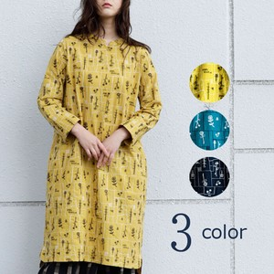 S/S Square Flower Repeating Pattern Embroidery Shirt One-piece Dress [ 2020NewItem ]