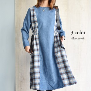 A/W Checkered Plain Switching Shearing One-piece Dress
