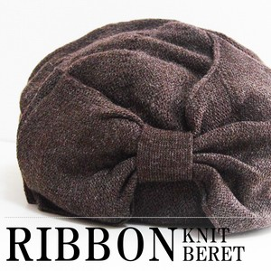 A/W Hats & Cap Acrylic Knitted Beret Ribbon Design Double Type Free Size