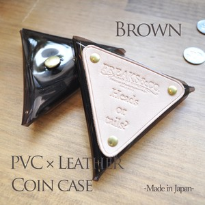 Leather Clear Coin Case Brown