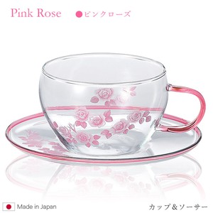 Cups & Saucer Heat-Resistant Glass Pink Rose 9p