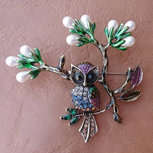 Enamel Cloisonne Brooch Ride Owl Yellow
