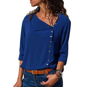 Ladies Blouse Top Office Top Blue