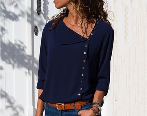 Ladies Blouse Top Office Top Dark Blue