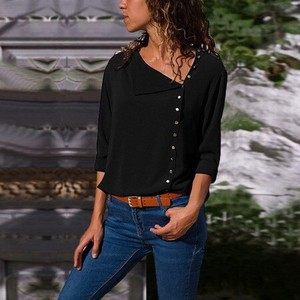 Ladies Blouse Top Office Top Black