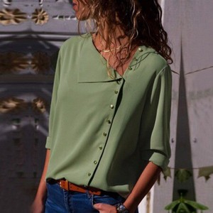 Ladies Blouse Top Office Top Green
