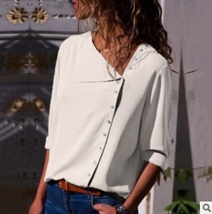 Ladies Blouse Top Office Top White