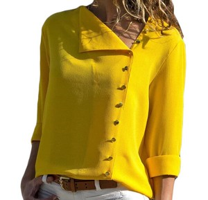 Ladies Blouse Top Office Top Yellow