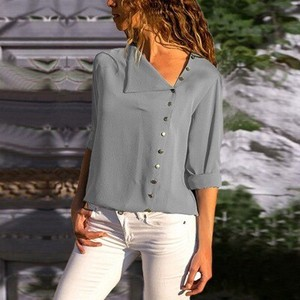 Ladies Blouse Top Office Top Gray