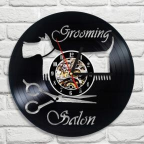 Wall Clock Tissue Terrier Trimming Salon Dog Interior Display