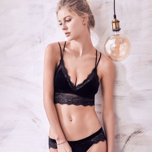 Velvet Set Undergarment Lace Bra Wireless soft