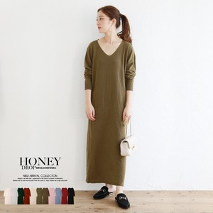 A/W Cashmere V-neck Long Knitted One-piece Dress