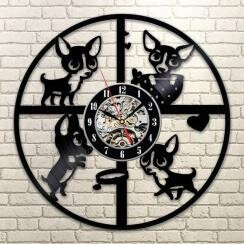 Wall Hanging Product Clock/Watch Chihuahua Pet Eco Interior Display