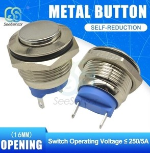 Metal Button Switch Nickel Plating Brass Press Button Self Reset Round