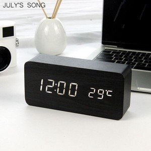 LED Clock/Watch Wooden Clock/Watch Night Light Temperature Table Desk Electron