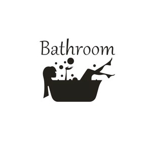 Wall Sticker Silhouette SEAL Room Toilet