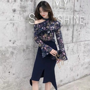 Set Shirt Skirt Floral Pattern Long Long Sleeve Miss Sexy Office Lady Marriage