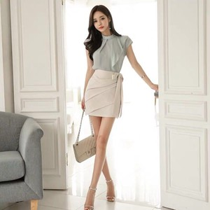 Set Shirt Skirt Party Short Sleeveless Miss Sexy Office Lady