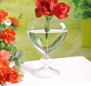 Heart Glass Flower Vase Decoration Flower Vase Desktop Flower Vase Wedding