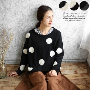 Knitted Sweater Ladies Dot Drop Shoulder Top