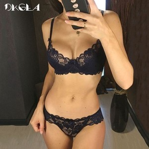 Ladies Transparency Set Lace Embroidery Gray Bra