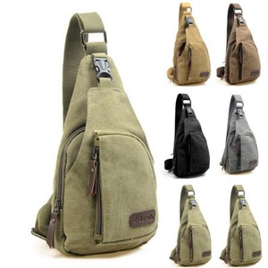 Men Vintage Canvas Leather Shoulder Ring Pack Bag
