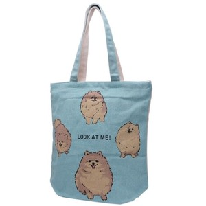 Zipper Top Canvas Tote Pomeranian