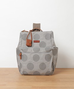 Canvas Dot Embroidery Leather Square Backpack