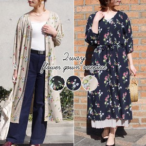 [ 2020NewItem ] Floral Pattern Belt Attached Robe One-piece Dress mitis